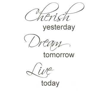 Cherish yesterday, dream tomorrow, live today seinätarra