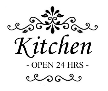 Kitchen open 24 hrs seinätarra